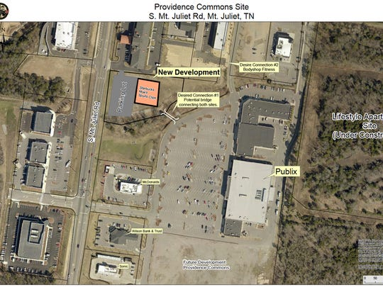 Aerial view of the location a new commercial center