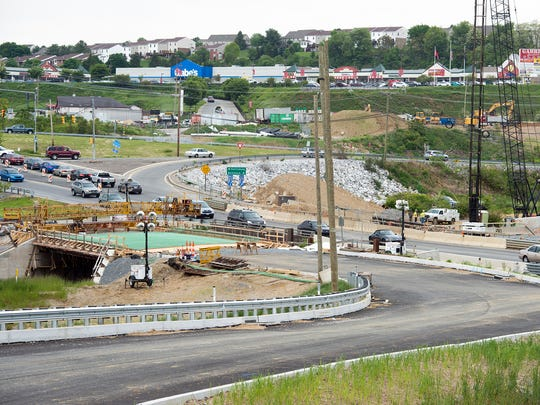 Crews are behind schedule with the makeover of the Mount Rose interchange at Interstate 83. The project could extend into 2019, according to the state Department of Transportation. This view is looking across Mount Rose Avenue at the Interstate 83 south ramp.