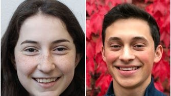 Shorewood High School students Katie Eder (left) and Brendan Fardella are participating in a 50-mile march from Madison to Janesville from March 25-28 to protest gun laws.