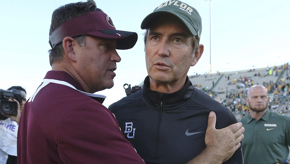 ULM's Todd Berry meets Baylor head coach Art Briles