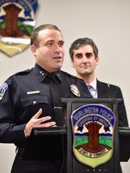 Burlington Police Chief Brandon del Pozo, left, and