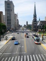 Downtown development along Woodward Avenue includes the QLine.