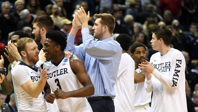 The Butler Bulldogs celebrate after defeating the Middle Tennessee Blue Raiders in the second round of the 2017 NCAA Tournament at BMO Harris Bradley Center.