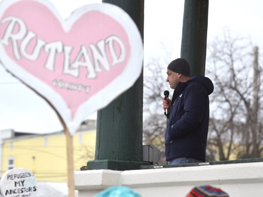 Rutland Mayor Christopher Louras speaks to the crowd