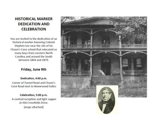 The family of Stephen Lee, who operated a boys school in Asheville in the 1800s, will hold a dedication ceremony for a new historical marker at 4 p.m. Friday.