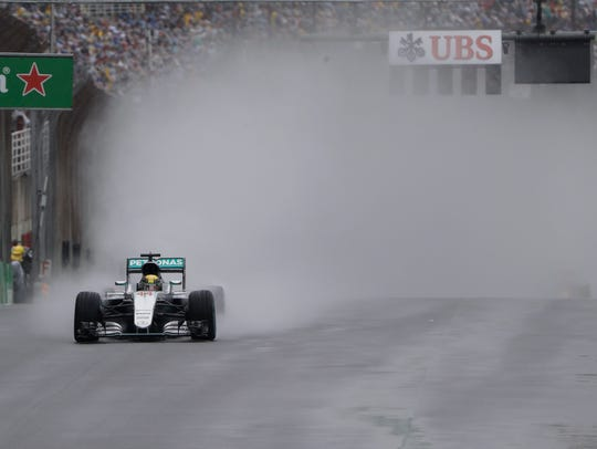 Mercedes driver Lewis Hamilton of Britain leads during the Brazilian Formula One Grand Prix at the Interlagos race track in Sao Paulo, Brazil, on Sunday, Nov. 13, 2016. A federal lawsuit filed by the Caledonian Record of St. Johnsbury accuses the Newport Daily Express of improperly downloading and publishing an Associated Press photograph from this event.