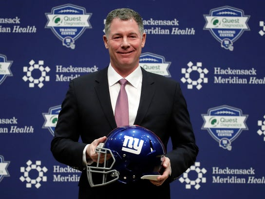 Pat Shurmur is introduced as coach of the New York Giants on Jan. 26.