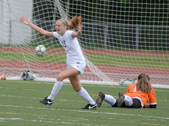 Avery Fenchel looks to celebrate her first goal of