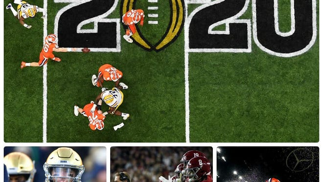 Clemson and LSU, top, which played for last season's CFP championship, could meet again for the 2020 title since the ACC and SEC are proceeding with their seasons. Among the storylines to follow this year, bottom left to right: Notre Dame's link to the ACC, Nick Saban's attempt to lead Alabama back to the CFP, and Clemson quarterback's Trevor Lawrence's possible Heisman Trophy.