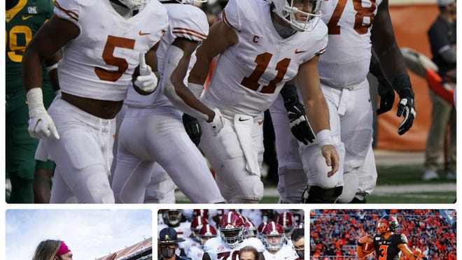 Among this week's more intriguing college football storylines: Texas quarterback Sam Ehlinger, top, leads the Longhorns into a must-win game in Stillwater, where Oklahoma State quarterback Spencer Sanders, bottom right, and the sixth-ranked Cowboys will be waiting. Alabama coach Nick Saban, bottom center, is coming off big back-to-back SEC wins over Georgia and Tennessee; and Clemson quarterback Trevor Lawrence has tested positive for COVID-19, forcing him to miss the Syracuse game.