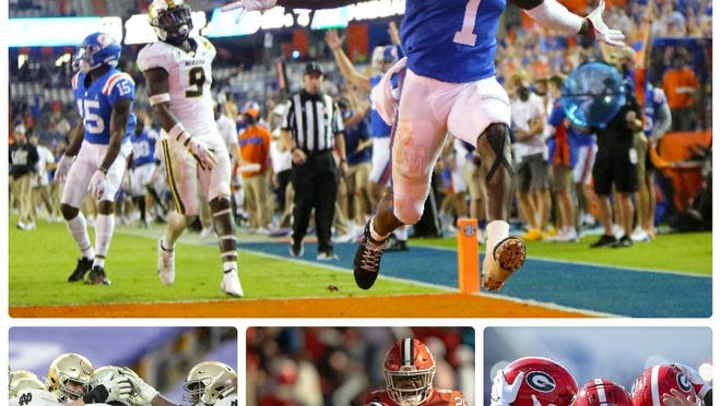 Two matchups on Saturday have major College Football Playoff implications: Clemson vs. Notre Dame and Georgia vs. Florida. Top: Florida receiver Kadarius Toney scores a touchdown in last week's win over Missouri; bottom right: Georgia players celebrate a Zamir White score against Kentucky; bottom center: Clemson defenders celebrate a fourth quarter stop against Boston College; bottom left: Notre Dame players celebrate a touchdown against Pitt.