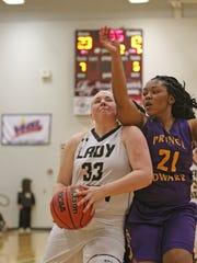 Buffalo Gap's Camille Ashby drives against Prince Edward