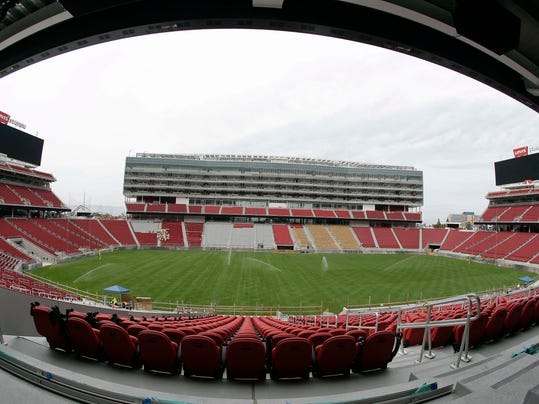 FILE - This April 21, 2014 file photo shows  the new Levi's Stadium during a preview tour in Santa Clara, Calif. The Pac-12 Conference will announce at a news conference Thursday May 15, 2014, that it is moving the league championship game to the San Francisco 49ers' new stadium in Santa Clara, a person familiar with the decision said.  (AP Photo/Eric Risberg, file)