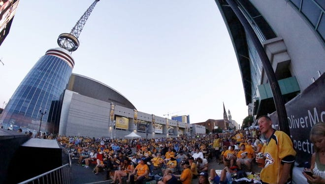 Predators fans react to Game 6 of the Stanley Cup Final on Sunday, June 11, 2017, in Nashville.