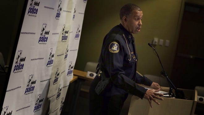 Detroit Police Chief James Craig talks Thursday, April 9, 2015, about the indictments against two Detroit Police officers accused of stealing from drug dealers.
