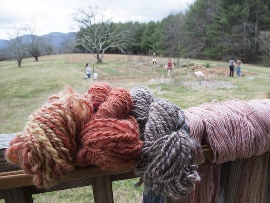 Yarn dyed from plants grown in Warren Wilson College's