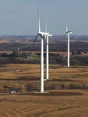 Wind turbines in Macksburg. Similar turbines are set