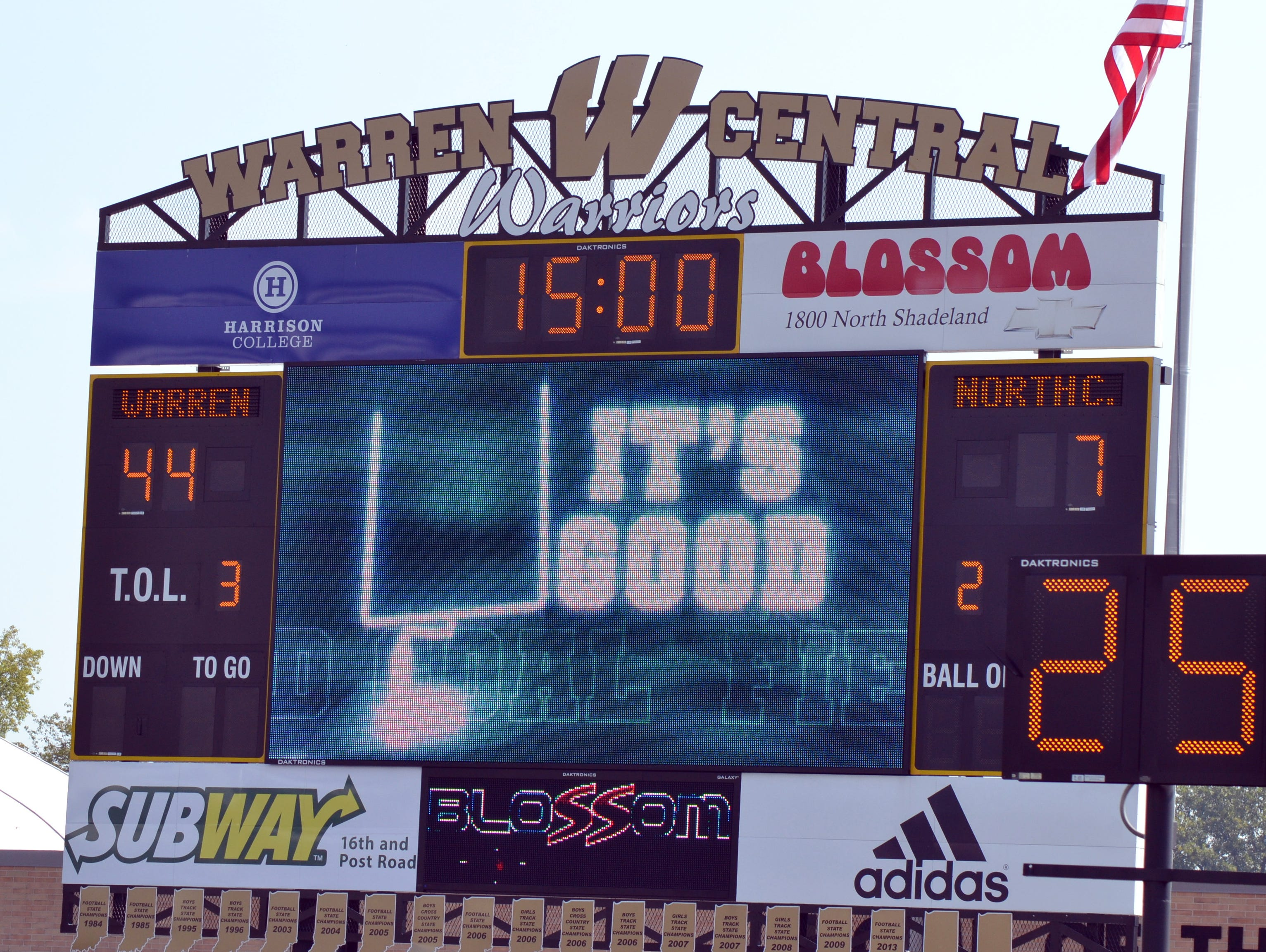 Shot of a scoreboard from last season during Warren Central's 60-7 win over North Central.