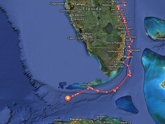 Katharine appears to be heading toward the Gulf of Mexico.