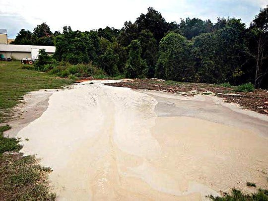 The drilling mud on the site at Bull Shoals on Aug. 21.