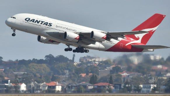 A Qantas Airbus A380 launches on August 25, 2017
