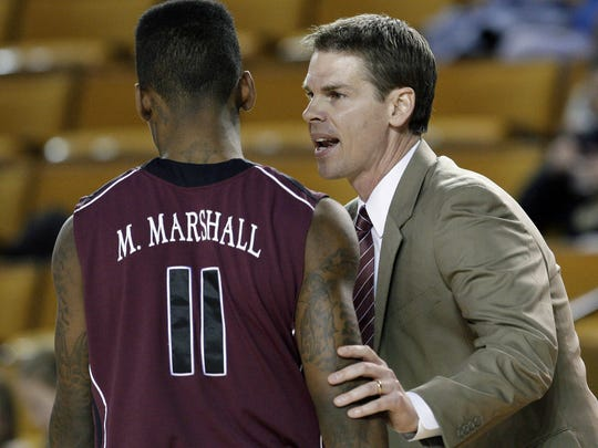 With top scorer Marcus Marshall out with a knee injury, coach Paul Lusk faces a tough task in guiding the Bears to a top-four finish in the conference.  News-Leader File photo Missouri State's Marcus Marshall gets some words from head coach Paul Lusk during Friday's game.  Michael Wyke/Tulsa World Missouri State's Marcus Marshall gets some words from head coach Paul Lusk during their game against Oral Roberts in Tulsa, OK, Dec. 13, 2013. MICHAEL WYKE/Tulsa World