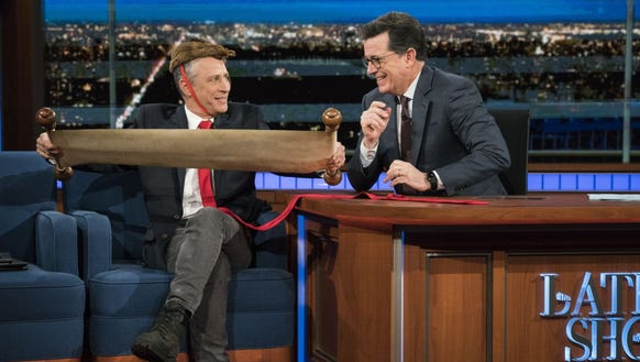 Jon Stewart visits 'The Late Show' Tuesday.