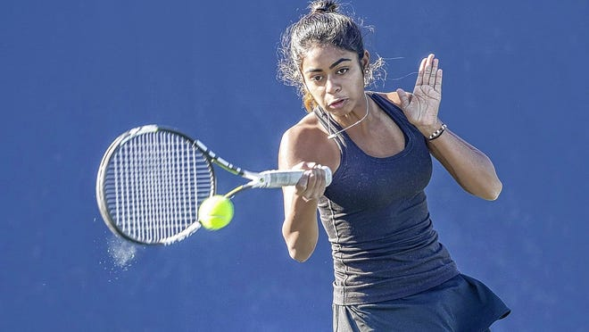 Senior Lalasa Nagireddy will likely play first singles for the Jerome girls tennis team and fifth-year coach Ken Berlin. Nagireddy and Arya Dudipala won the Division I doubles title at the state tournament last season.