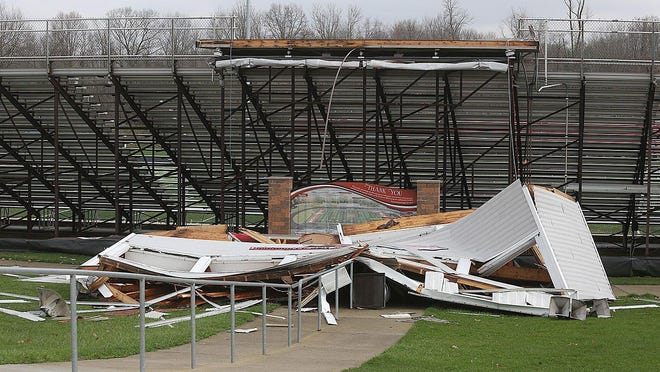 A powerful storm earlier this year destroyed the press box at Northwest High's football stadium. The cost to replace is $300,000.
