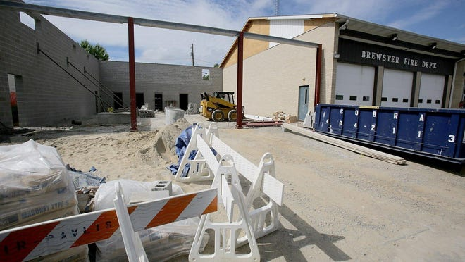 Construction continues on the expansion at the Brewster Fire Department as walls are taking shape. Officials anticipate the building will be under roof by the end of the month. It is expected to be completed in October.