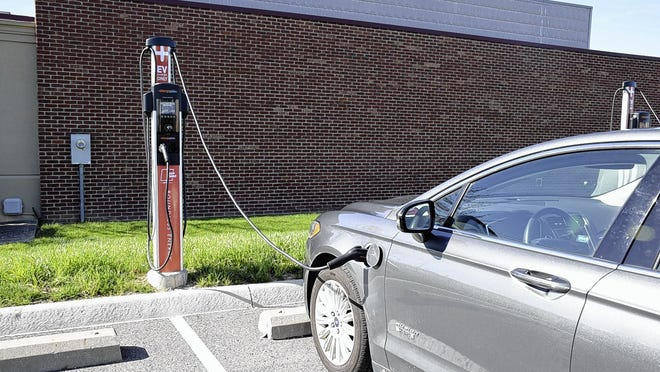 This electric-vehicle charging station is at AEP Ohio's Gahanna headquarters. Pickerington City Council has approved seeking a grant to help fund the installation a local station to charge up to four vehicles at a time.