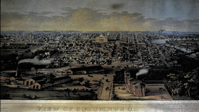 "Columbus is shown in an 1854 depiction, created by an artist who imagined a bird's-eye view of the downtown area. The artist ""completed"" the unfinished Statehouse and added a wooded area where the Old North Graveyard stood."