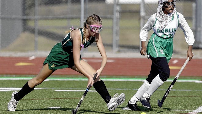 Senior midfielder Vanessa Ruck (left) is among the top returnees for the Jerome field hockey team and third-year coach Cara Wolfgram Evans.