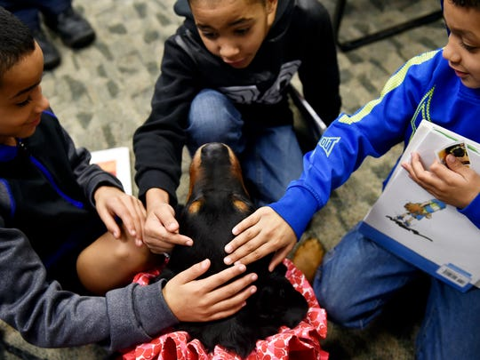 Spencer, a 10-year-old Rottweiler therapy dog, gets goodbye pats from Aljori Bowman, 8, of Red Lion; his cousin Rylee Williams, 8; and his brother Zyree Saylor, 6, after the boys read aloud to Spencer on at Kaltreider-Benfer Library in Red Lion. Kelly Skiptunas, of Lower Windsor Township, brings Spencer to the library every second Saturday to encourage young readers.