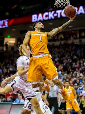 Jan 20, 2018; Columbia, SC, USA; Tennessee Volunteers guard Lamonte Turner (1) drives past South Carolina Gamecocks guard Hassani Gravett (2) in the first half at Colonial Life Arena. Mandatory Credit: Jeff Blake-USA TODAY Sports