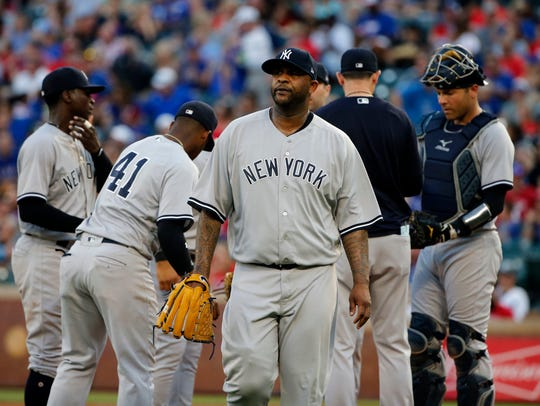 New York Yankees starting pitcher CC Sabathia is pulled