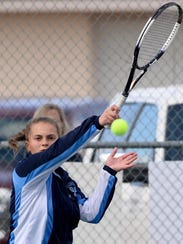 Senior Anna Johnson, pictured in a match from last season, will be Great Falls High's No. 1 girls' tennis singles player when the kids finally get to play.