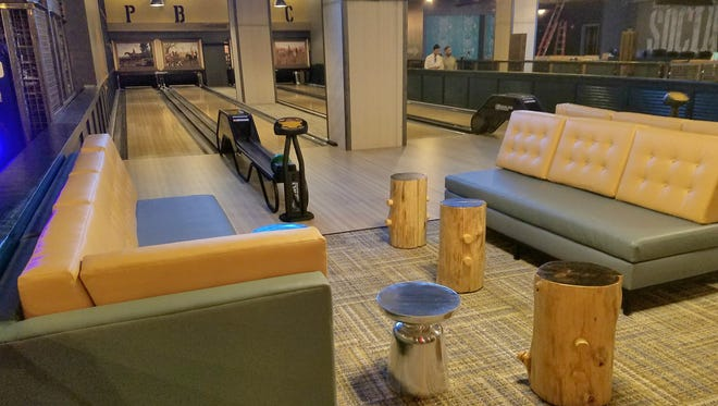 Four  of eight bowling lanes at Punch Bowl Social at Circle Centre Mall in Downtown Indianapolis.