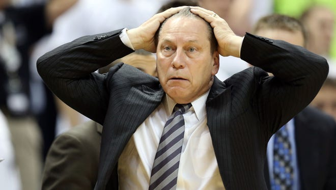 Michigan State Spartans head coach Tom Izzo reacts to a play at Jack Breslin Student Events Center.