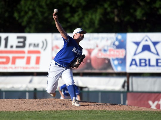 Lake Region starter Parker Brown delivers in the Division II high school baseball championship at Centennial Field on Saturday, June 9, 2018.