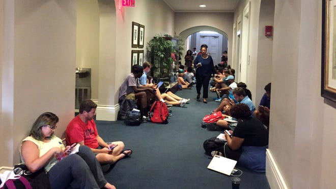 Over fifty people were involved in a sit-in at the Lyceum at the University of Mississippi.
