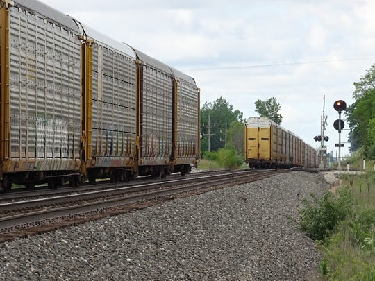 A train stopped Wednesday in Crawford County near Crestline
