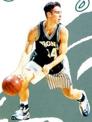 Frank DeBlasi on the cover of the Wagner  men's basketball