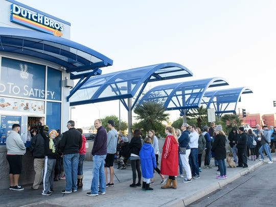 Dutch Bros. on Camelback and Central in Phoenix was packed before the start of the Fiesta Bowl Parade on Dec. 30, 2017.