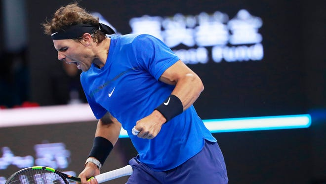 Nadal reacts during his match on Tuesday.