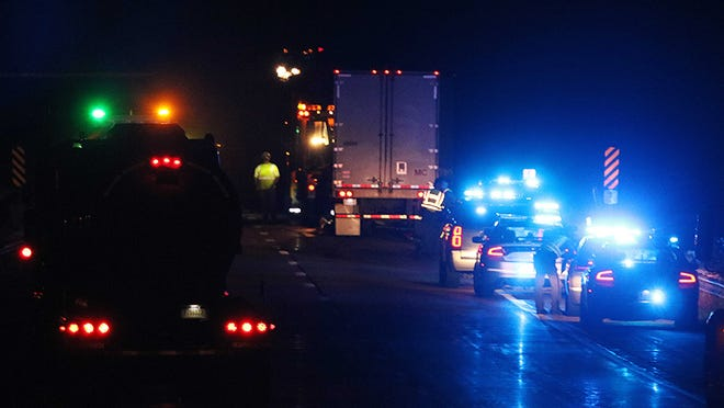 First responders respond to a fatal two-vehicle crash Monday night on U.S. 30 in Mifflin Township in Ashland County.