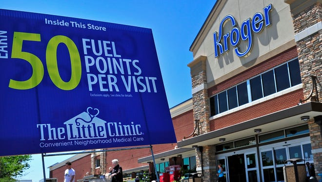 Sign for Little Clinic outside Kroger in Murfreesboro.