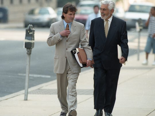 "Joseph S. Oteri, right, the Boston lawyer who led Capano's ""Dream Team,"" walks into the courthouse with co-counsel Eugene J. Maurer Jr."