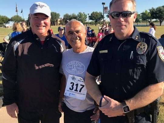 From left: Judge Paul Rotenberry, retired professor Joe Alcorta and Police Chief Stan Standridge before the start of Saturday's CASA 5K on the Abilene Christian University campus. All three ran strong races.