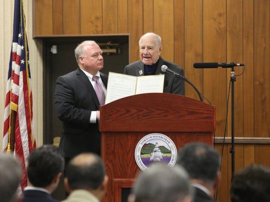 Sen. Bill Larkin, right, with Haverstraw Supervisor